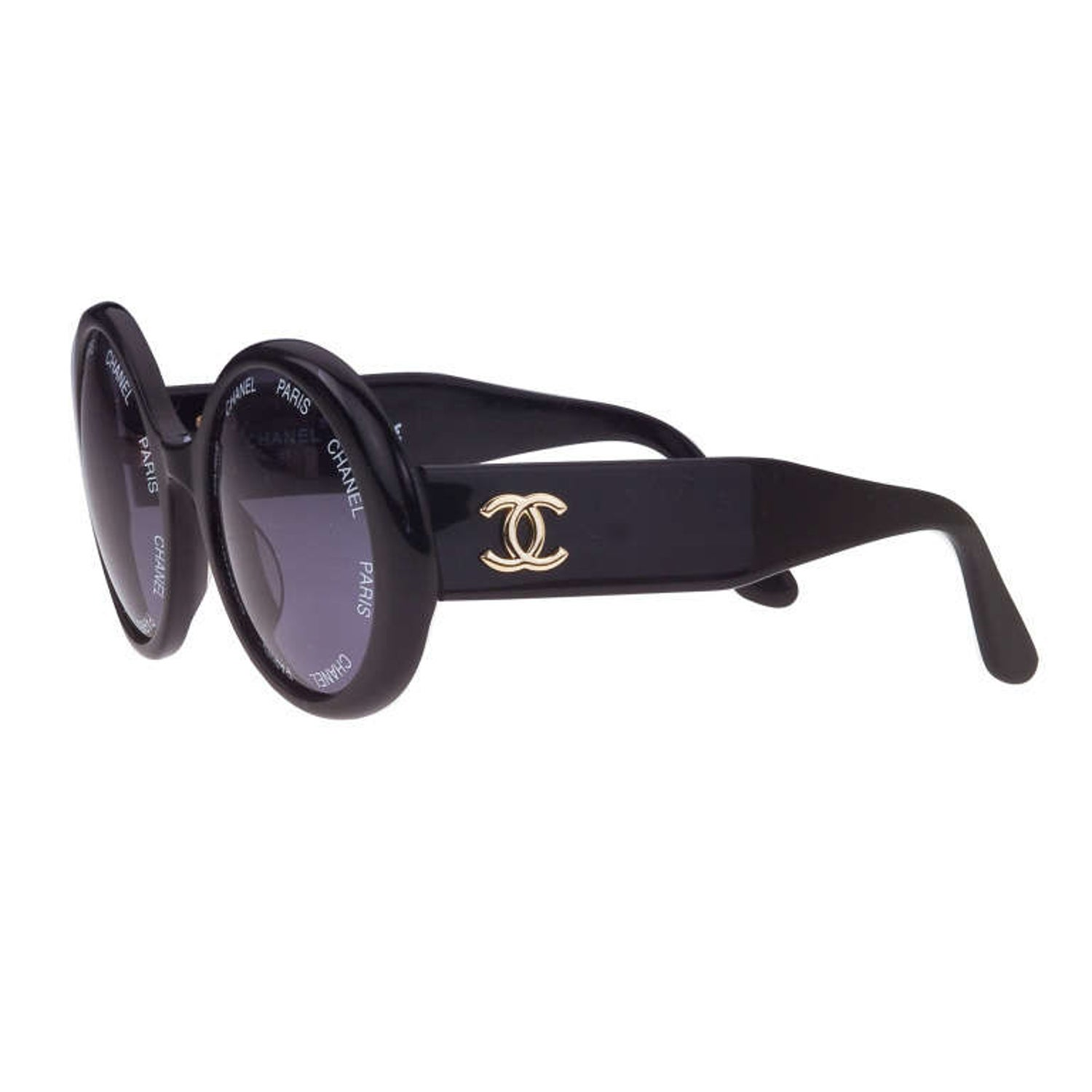 141ccccd75 Vintage Chanel  Chanel Paris  Logo Black Sunglasses Large at 1stdibs