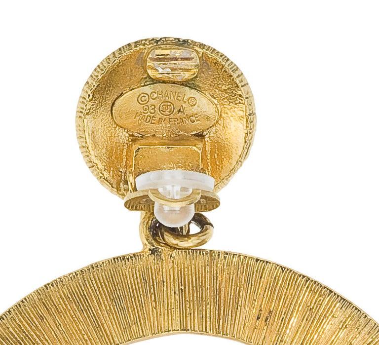 Chanel CC large gold dangling earrings 2