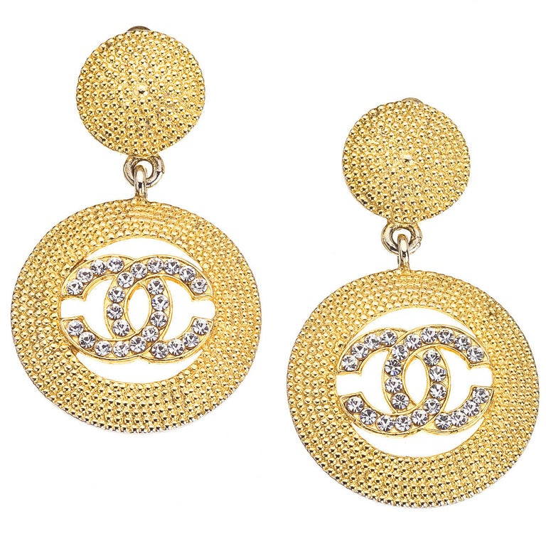 Chanel Dangling Earrings with Rhinestones For Sale