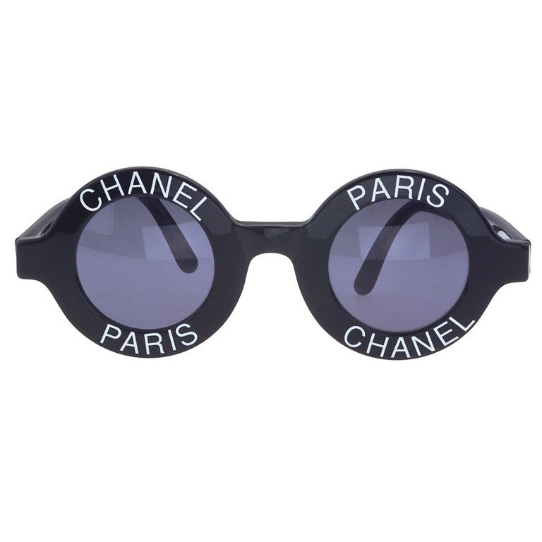 1990\'s Iconic White Chanel Paris Round Sunglasses For Sale at 1stdibs