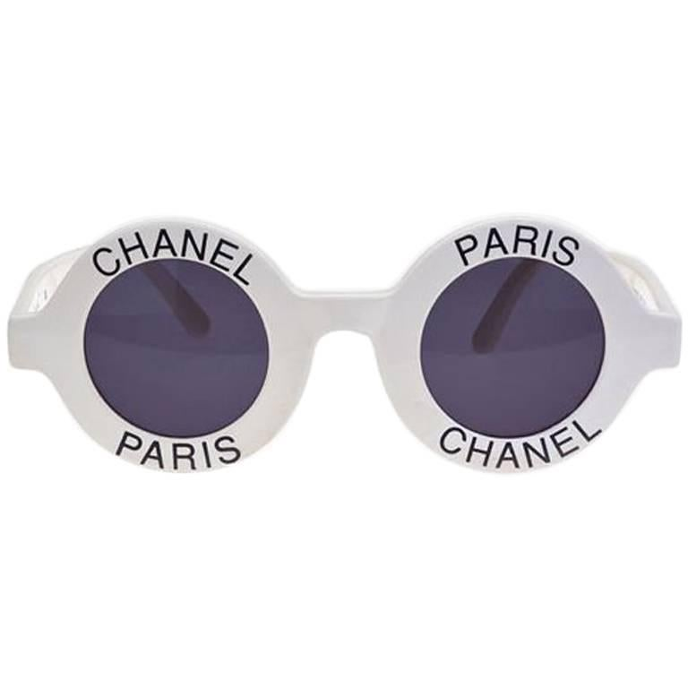 c93f9f376a543 Vintage Chanel Paris Logo Frame White Sunglasses at 1stdibs