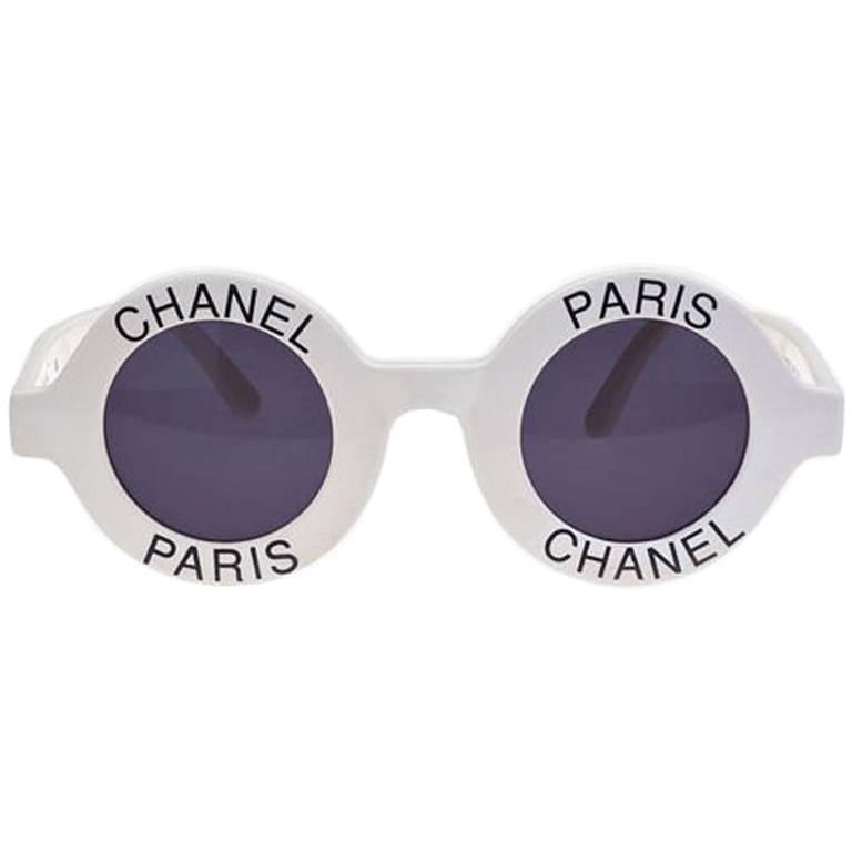 Vintage Chanel Paris Logo Frame White Sunglasses For Sale