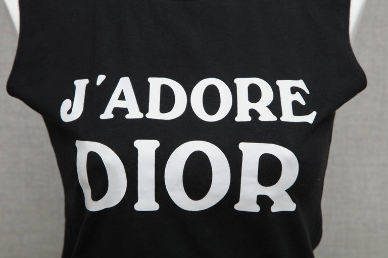 39bfa0492 John Galliano for Christian Dior tank top with iconic J'ADORE DIOR logo.  French
