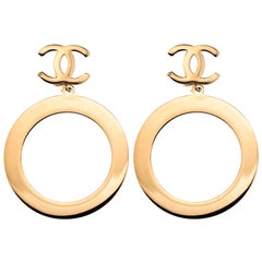 Chanel Massive Vintage Dangling Hoop Earrings