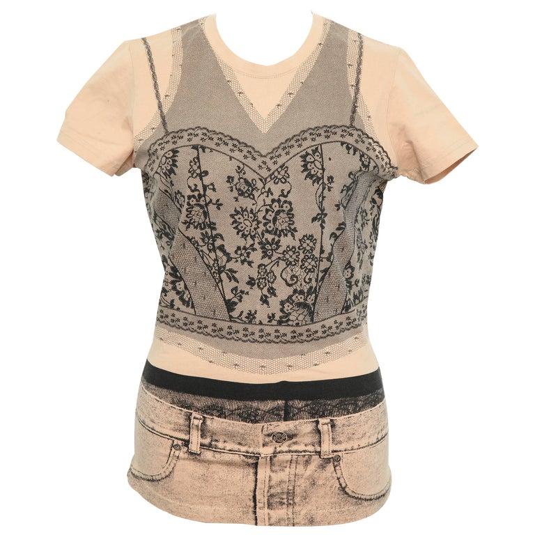 Christian Dior by John Galliano Trompe L'oeil T-shirt For Sale