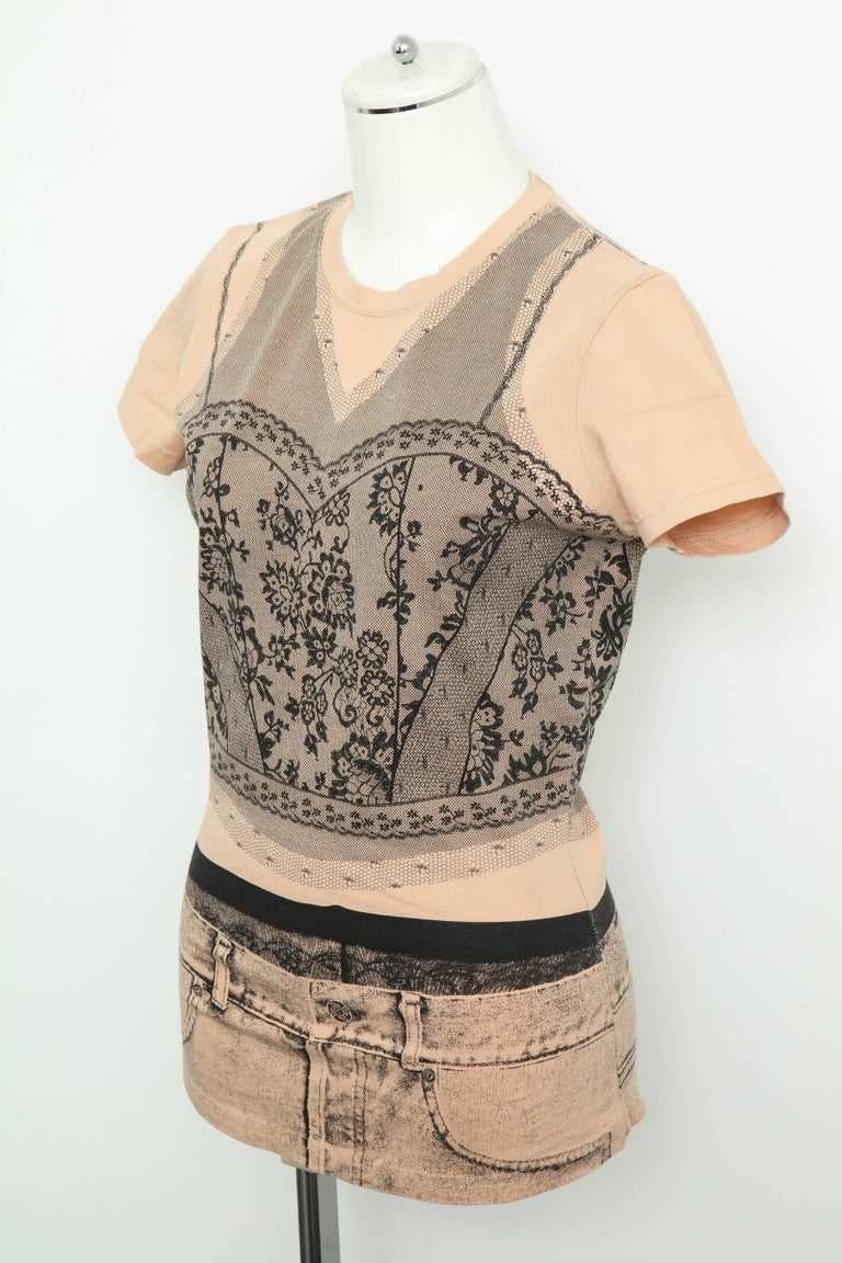 Beige Christian Dior by John Galliano Trompe L'oeil T-shirt For Sale