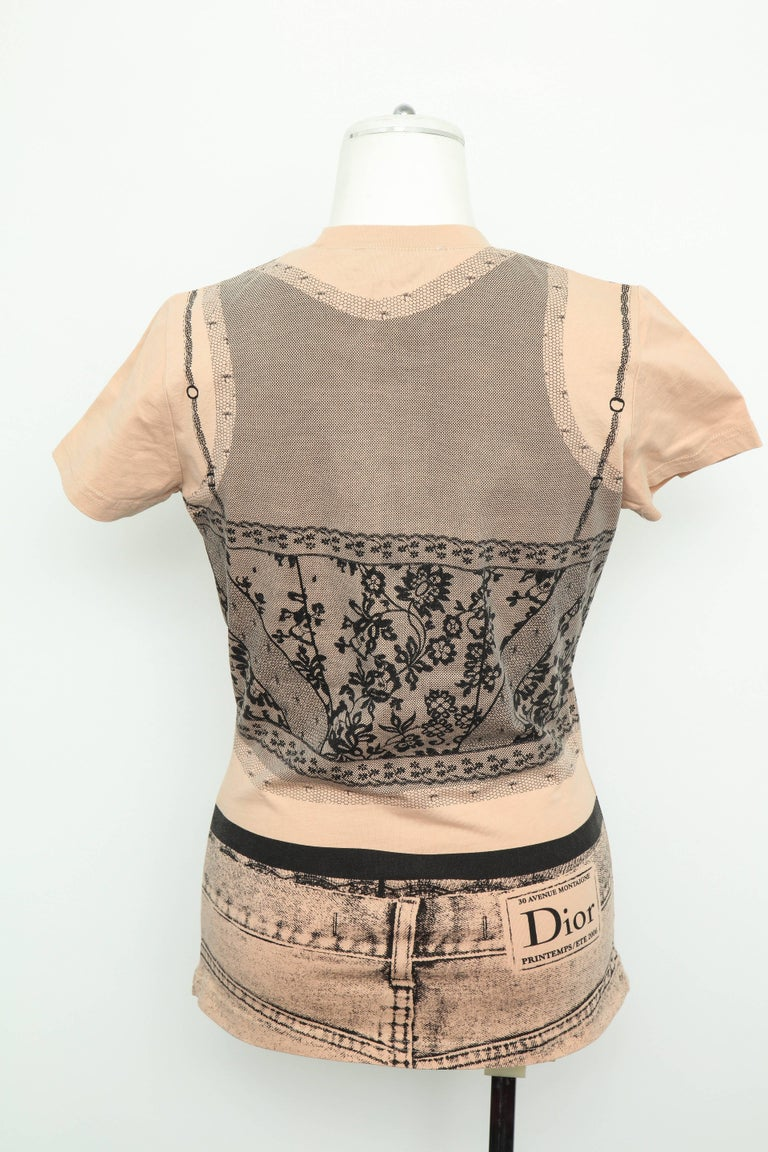 Women's Christian Dior by John Galliano Trompe L'oeil T-shirt For Sale