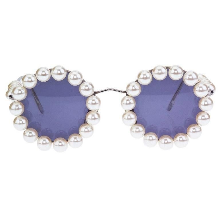 Chanel Vintage Pearl Round Sunglasses For Sale