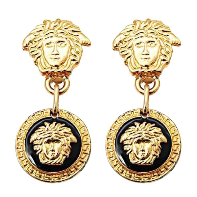 Gianni Versace Medusa Black/Gold Earrings For Sale