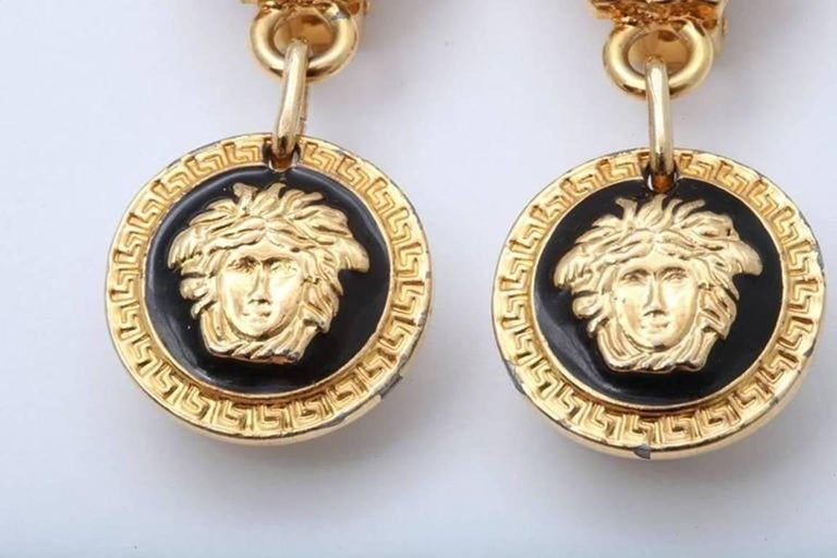 Gianni Versace Medusa Black/Gold Earrings In Excellent Condition For Sale In Chicago, IL
