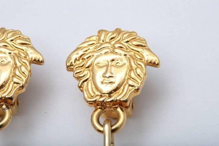 Women's or Men's Gianni Versace Medusa Black/Gold Earrings For Sale