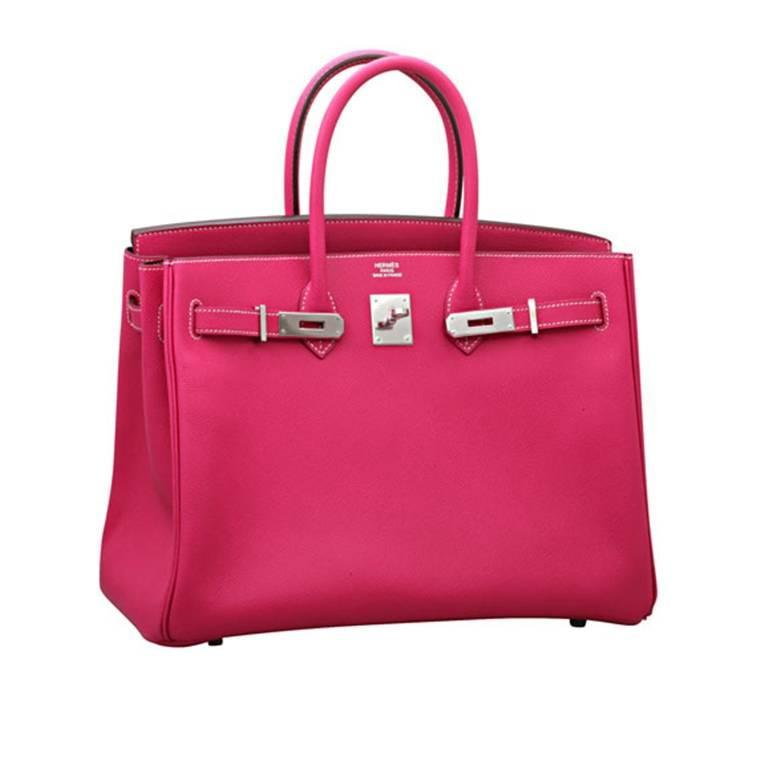 Hermes Birkin bag in rose tyrien, palladium hardware. 