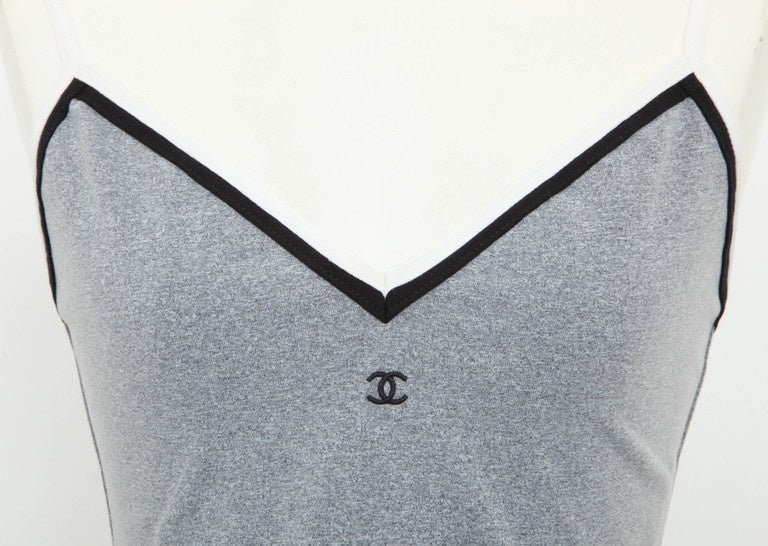 Chanel Grey Cropped Tank Top with CC Logos 2