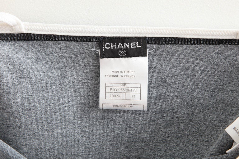 Chanel Grey Cropped Tank Top with CC Logos 6