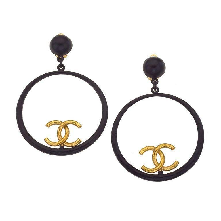 Chanel Large Black and Gold Hoop Earrings For Sale at 1stdibs