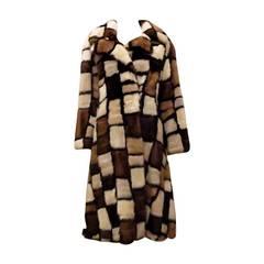 1970s FRANKLIN SIMON, NEW YORK Patchwork Mink Coat