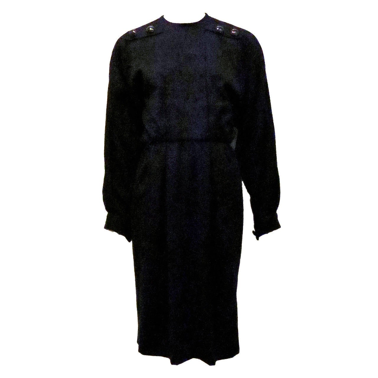 Galanos Black Long Sleeve Dress With Button Detail