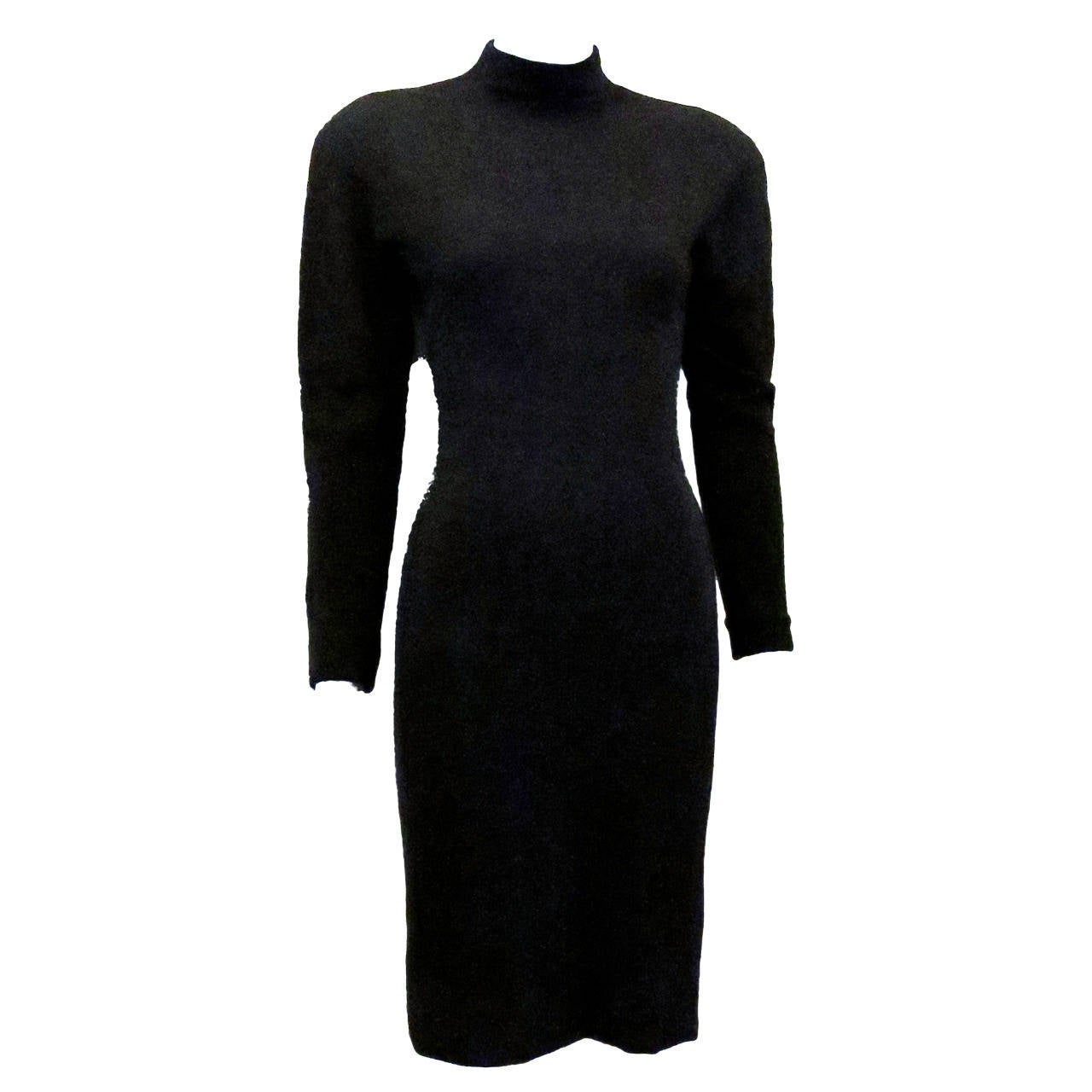HALSTON Grey Wool Knit Mock Turtleneck Dress For Sale