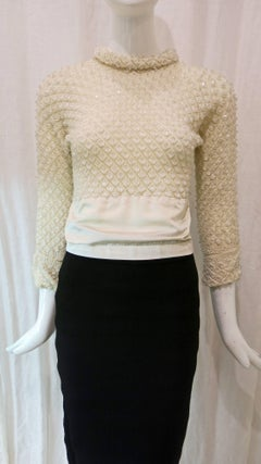 1960s Cream Knit Beaded Long Sleeve Top