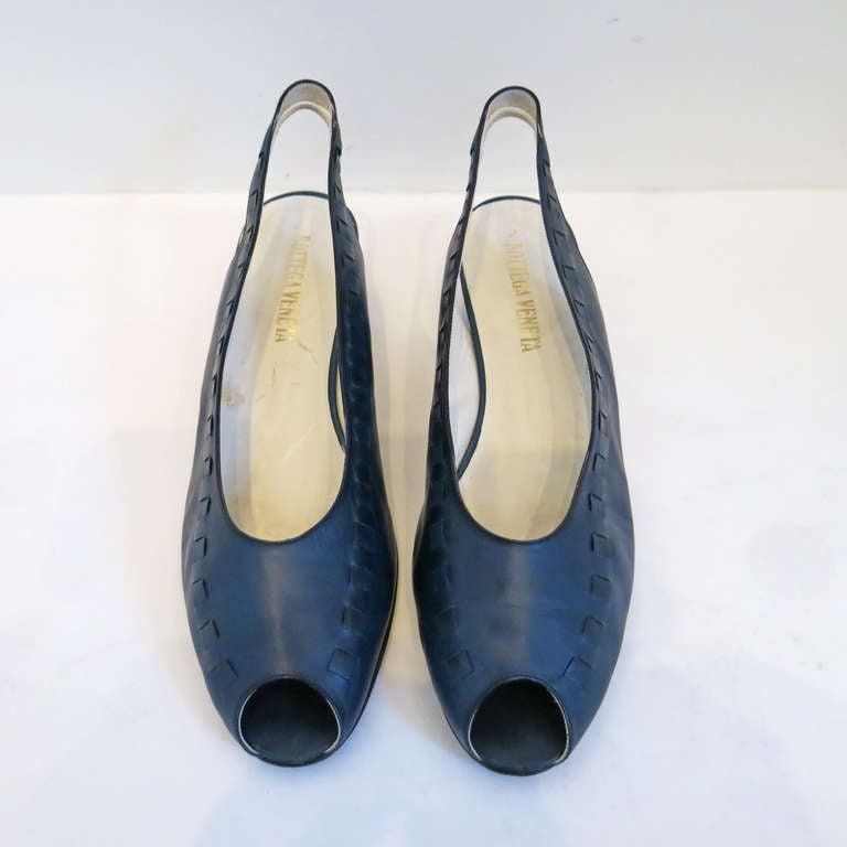 Bottega Veneta Navy Peep Toe Sling Back Sandals Size 9B 2