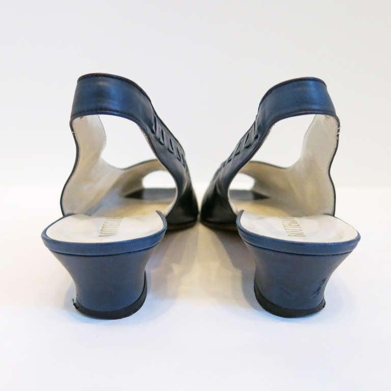 Bottega Veneta Navy Peep Toe Sling Back Sandals Size 9B 5