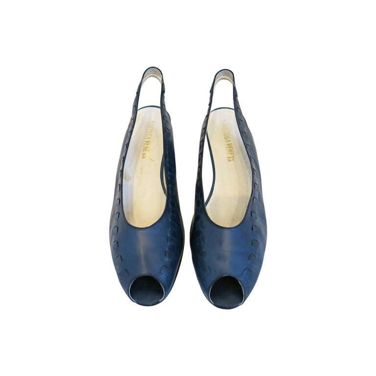 Bottega Veneta Navy Peep Toe Sling Back Sandals Size 9B 1