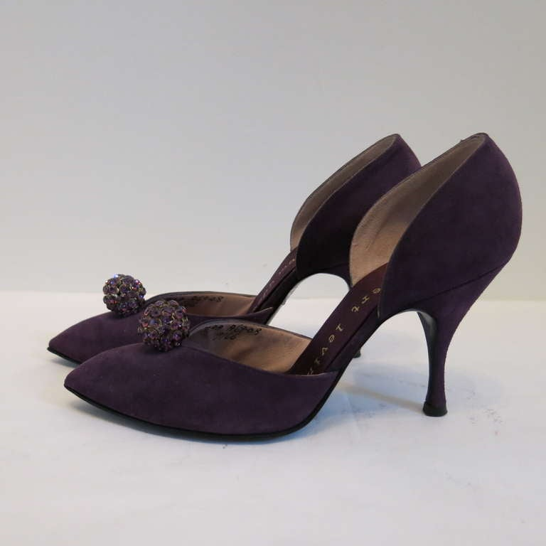 1960s Herbert Levine Purple Suede Heels w/ Rhinestone Ball Embellishment