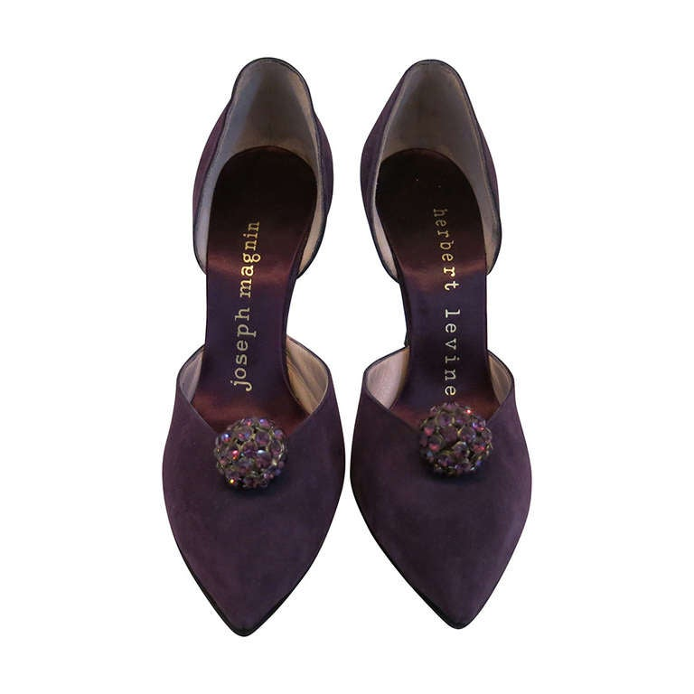 1960s Herbert Levine Purple Suede Heels with Rhinestone Ball Embellishment For Sale