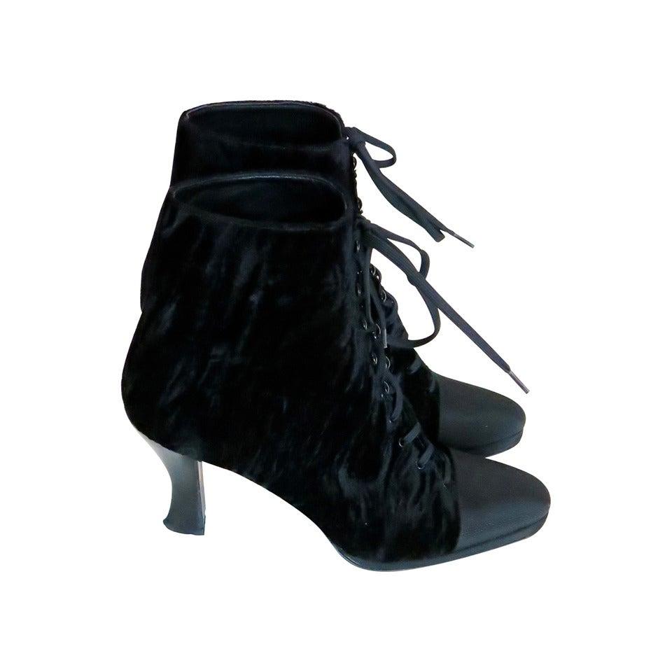 1980s Anne Klein Black Velvet Ankle Boots For Sale