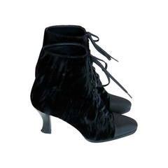 1980s Anne Klein Black Velvet Ankle Boots