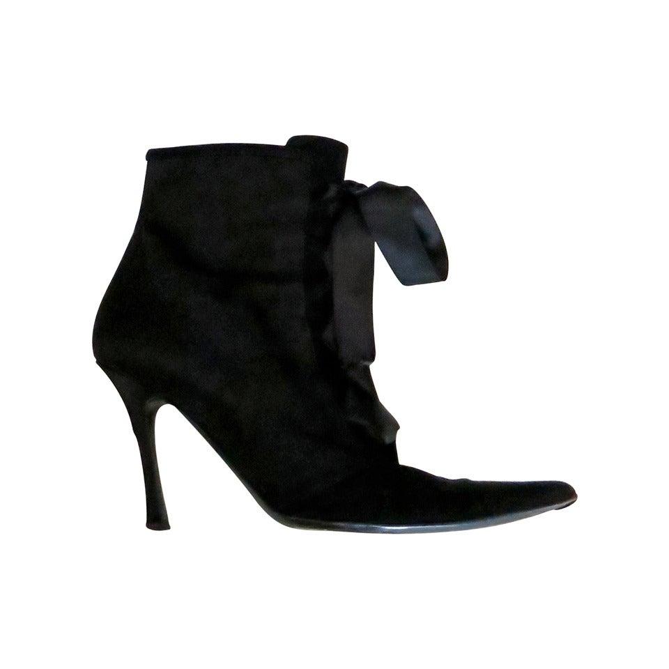 1990s Oscar de la Renta Black Satin and Suede Ankle Boots