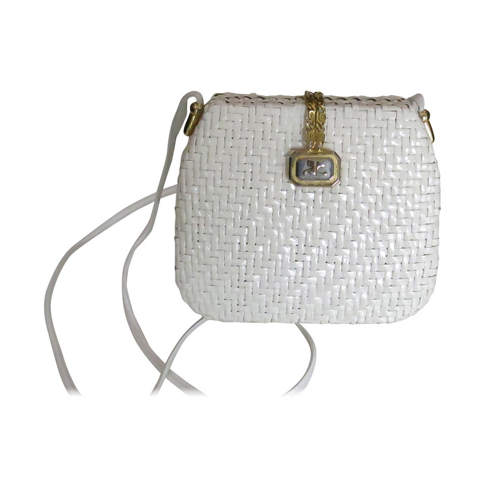 1970s Courreges White Raffia Purse