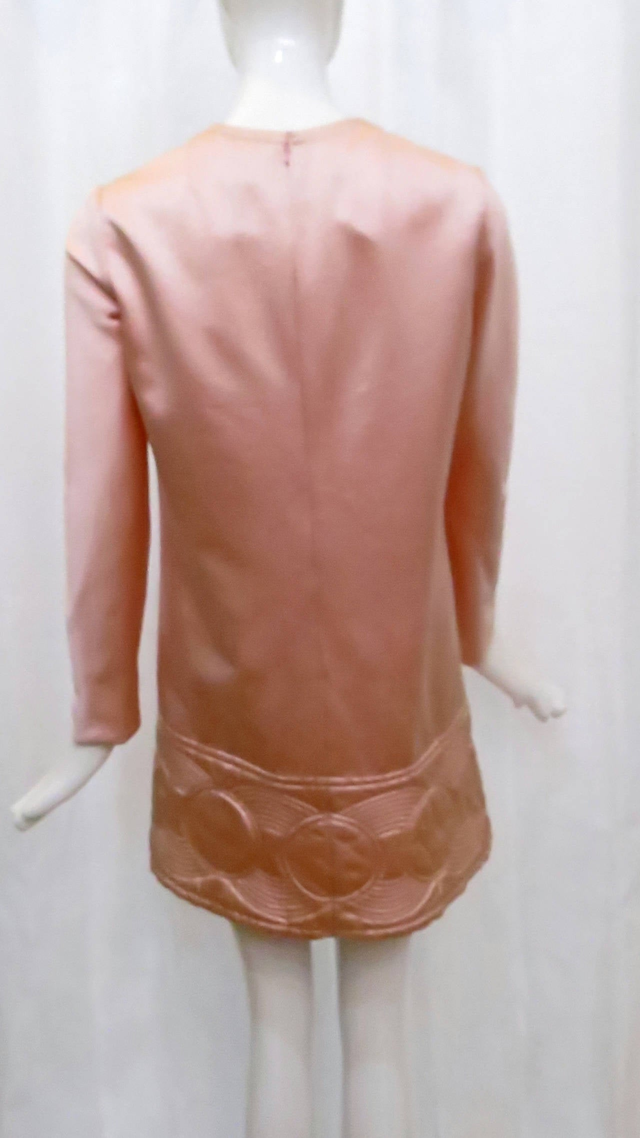 1969 Pierre Cardin Pink Satin Mini Dress with Circle Motif 4
