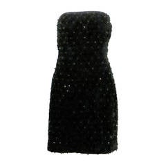 1980s Perry Ellis Quilted Black Velvet Strapless Mini Dress