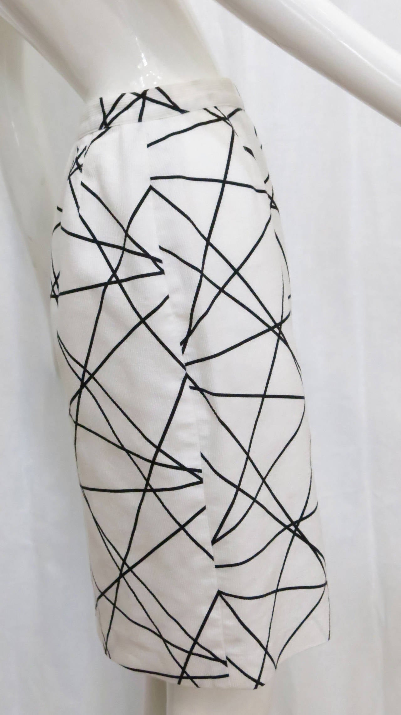 1980s Courreges Black and White Abstract Print Pencil Skirt 2