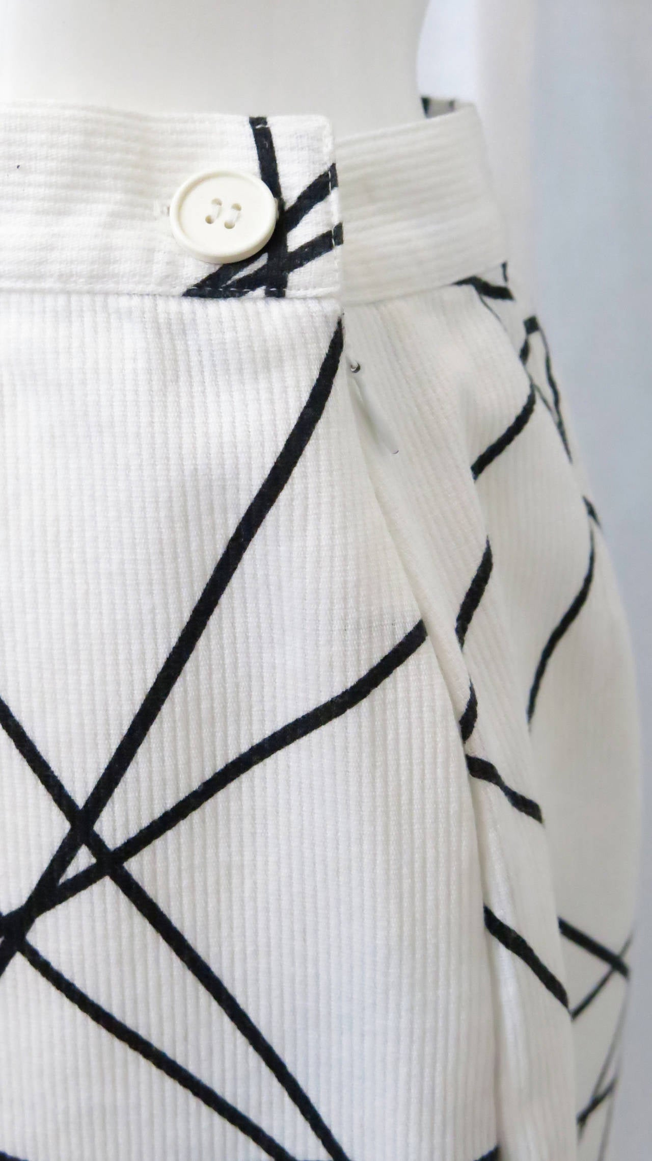 1980s Courreges Black and White Abstract Print Pencil Skirt 4