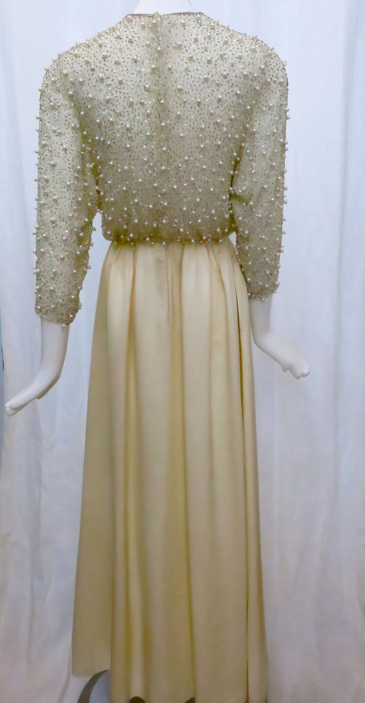 1970s lillie rubin silver bodice satin wedding dress with for Silver wedding dresses for sale