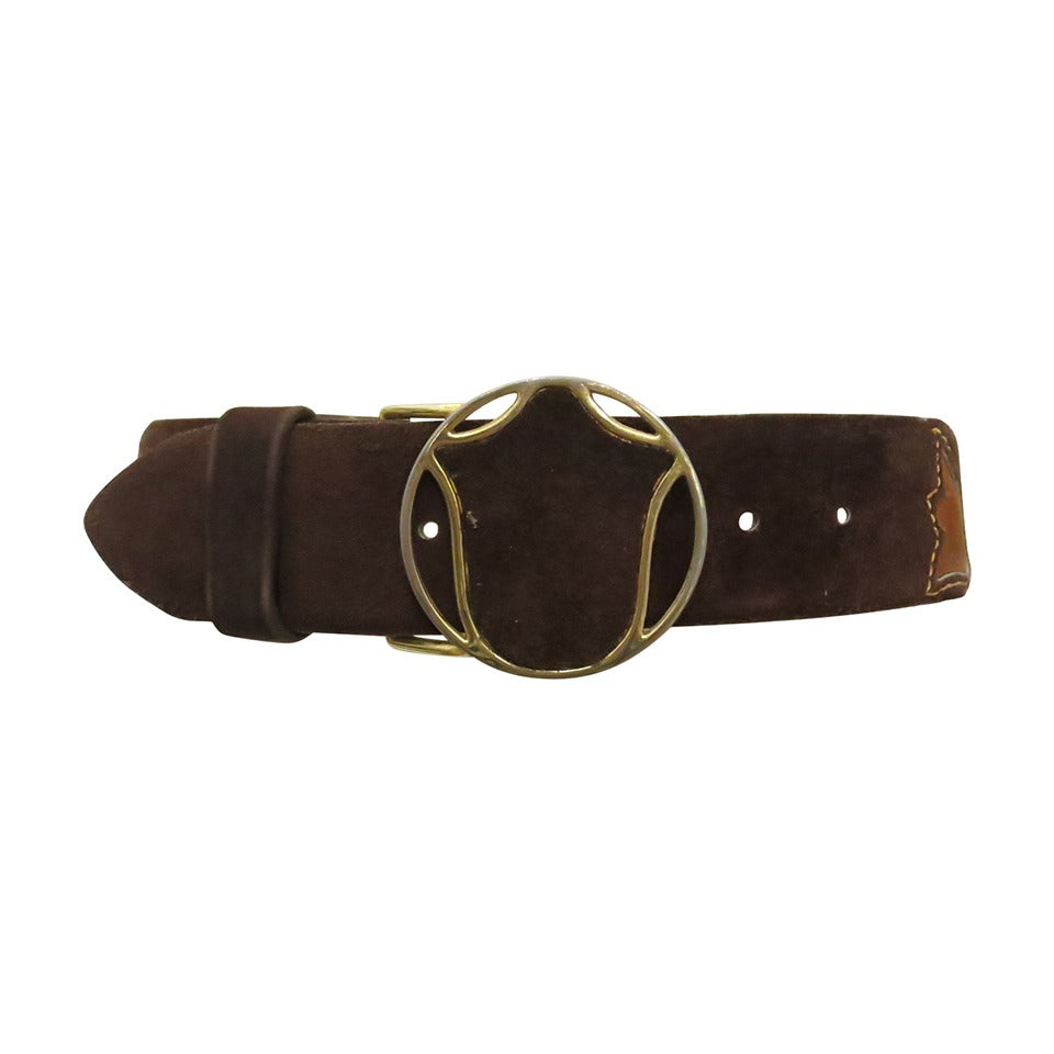 1970s vera brown suede belt with gold buckle and blossom