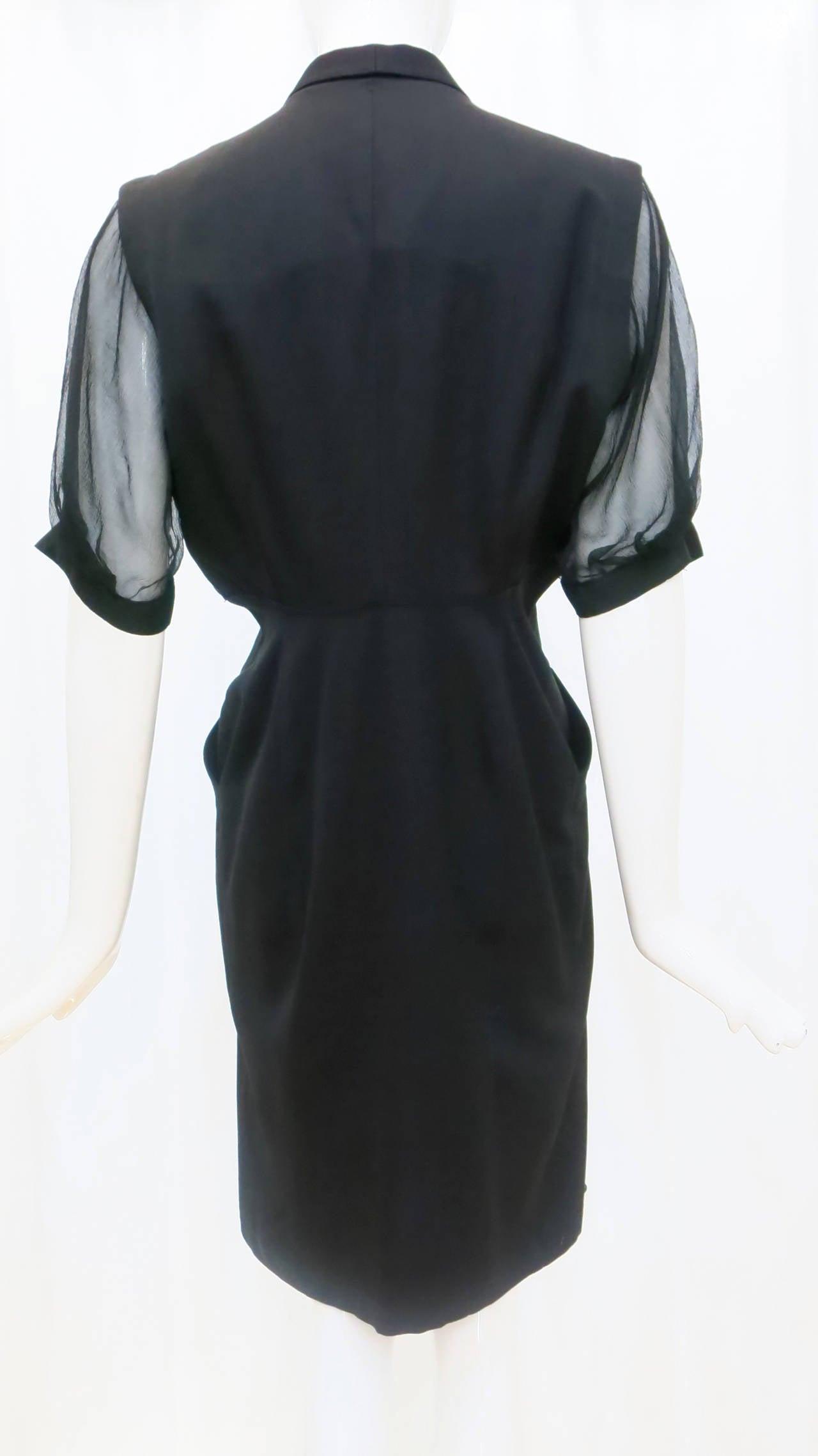 Women's Thierry Mugler Black Shirt Dress, 1980s  For Sale