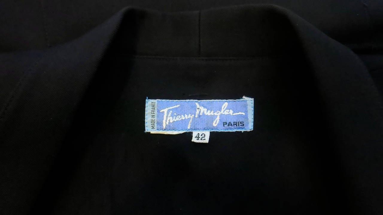 Thierry Mugler Black Shirt Dress, 1980s  For Sale 2