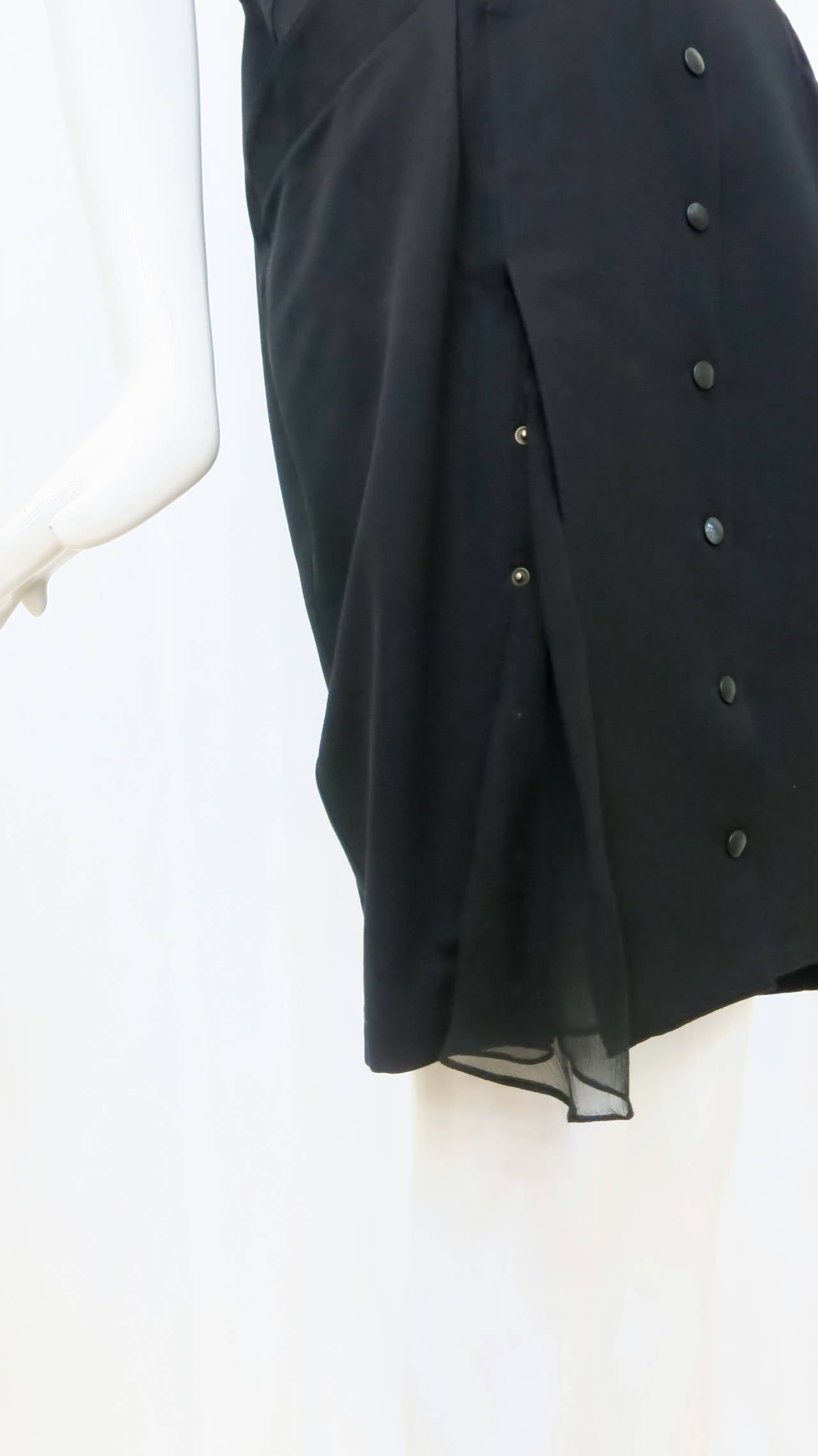 Thierry Mugler Black Shirt Dress, 1980s  In Good Condition For Sale In Brooklyn, NY