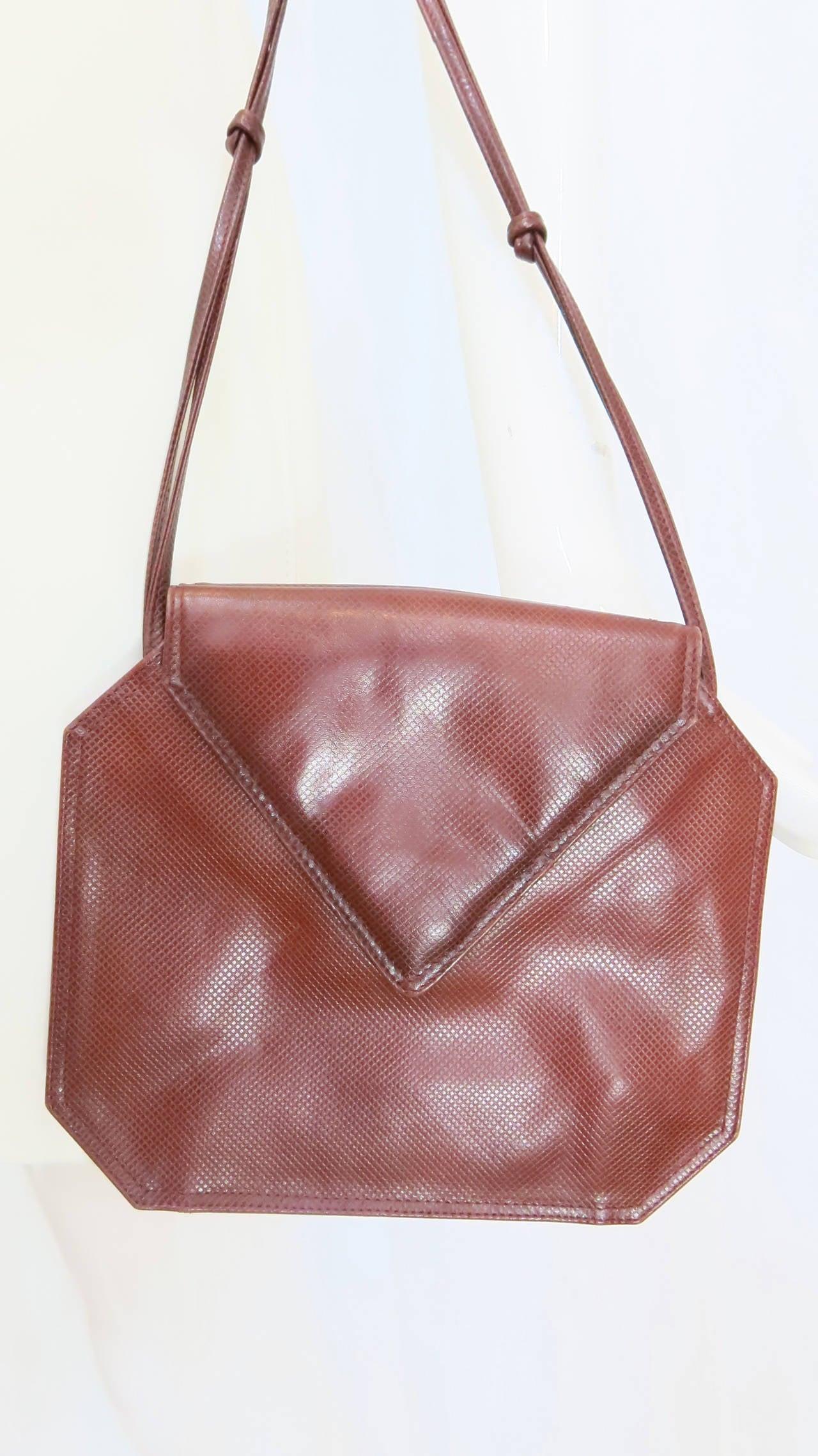 Bottega Veneta Burgundy Leather Crossbody Purse For Sale ...