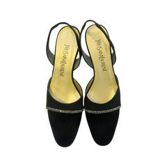 1990s Yves Saint Laurent Black Satin Slingback Pumps with Rhinestone Detail