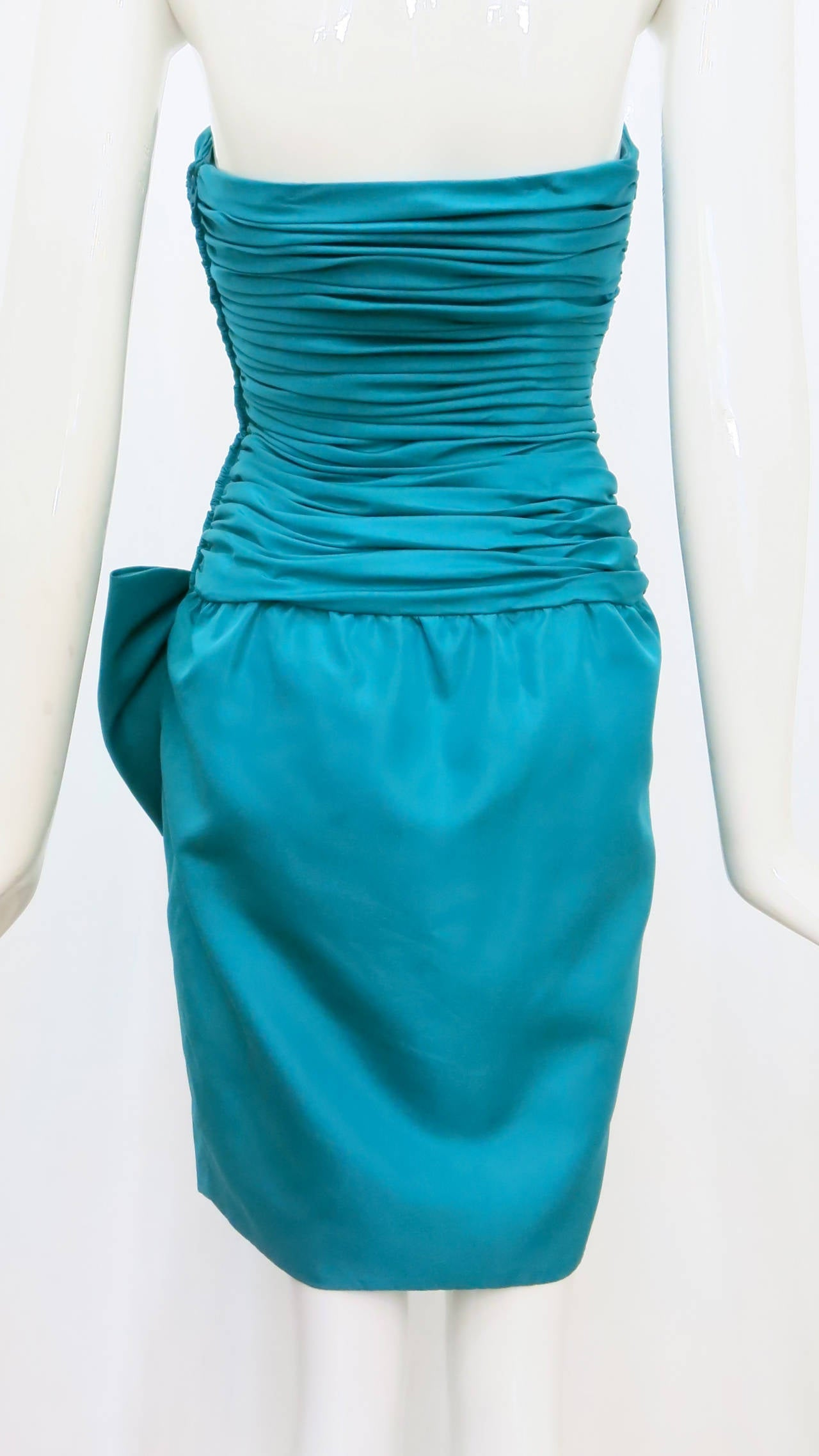1980s Christian Dior Aqua Silk Cocktail Dress 4