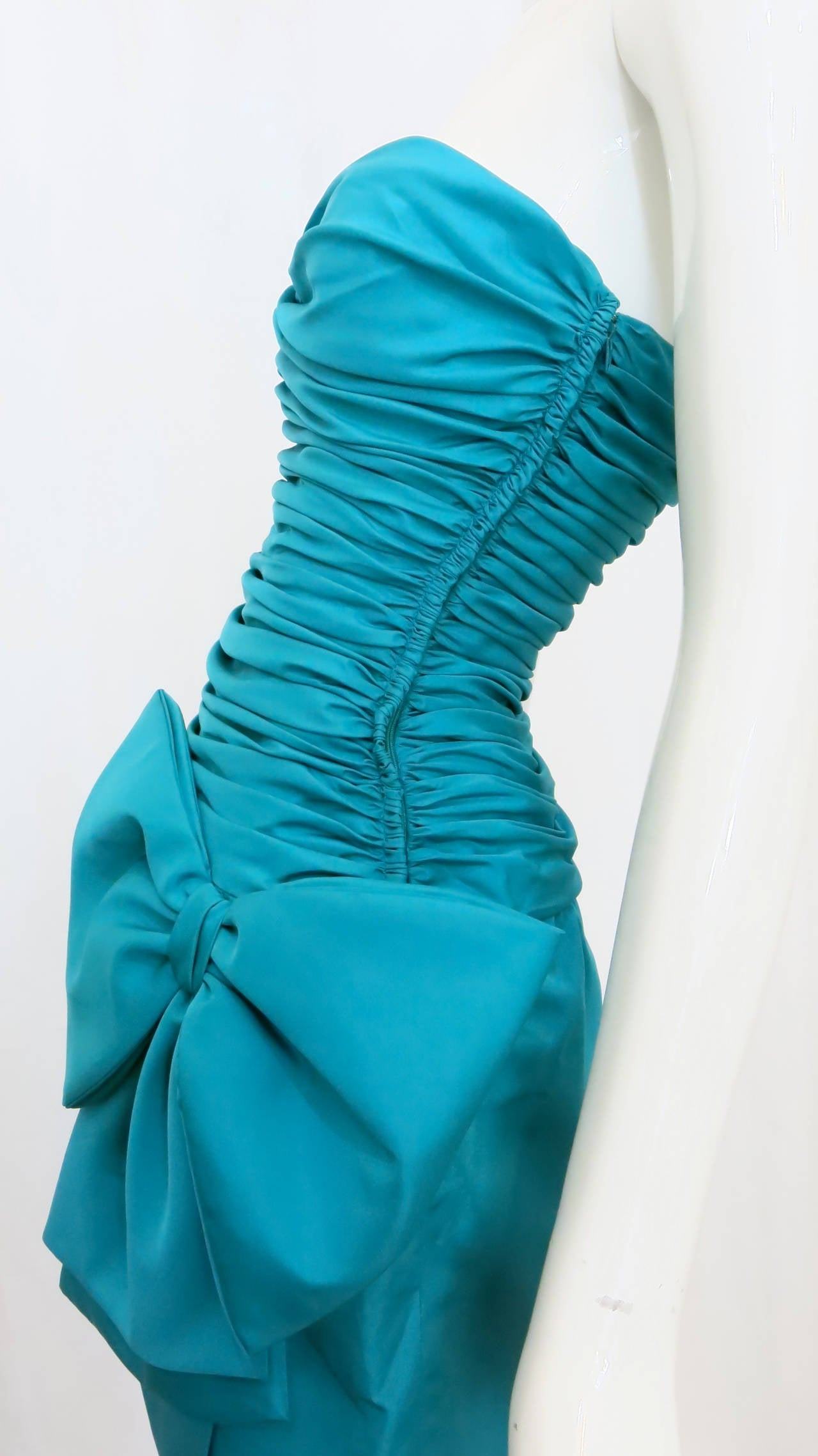 1980s Christian Dior Aqua Silk Cocktail Dress 3