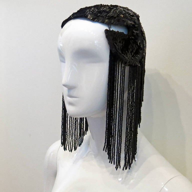 1950's Black Sequin Headdress With Jet Black Bead Fringe   *Please contact dealer prior to purchase for white glove shipping options*