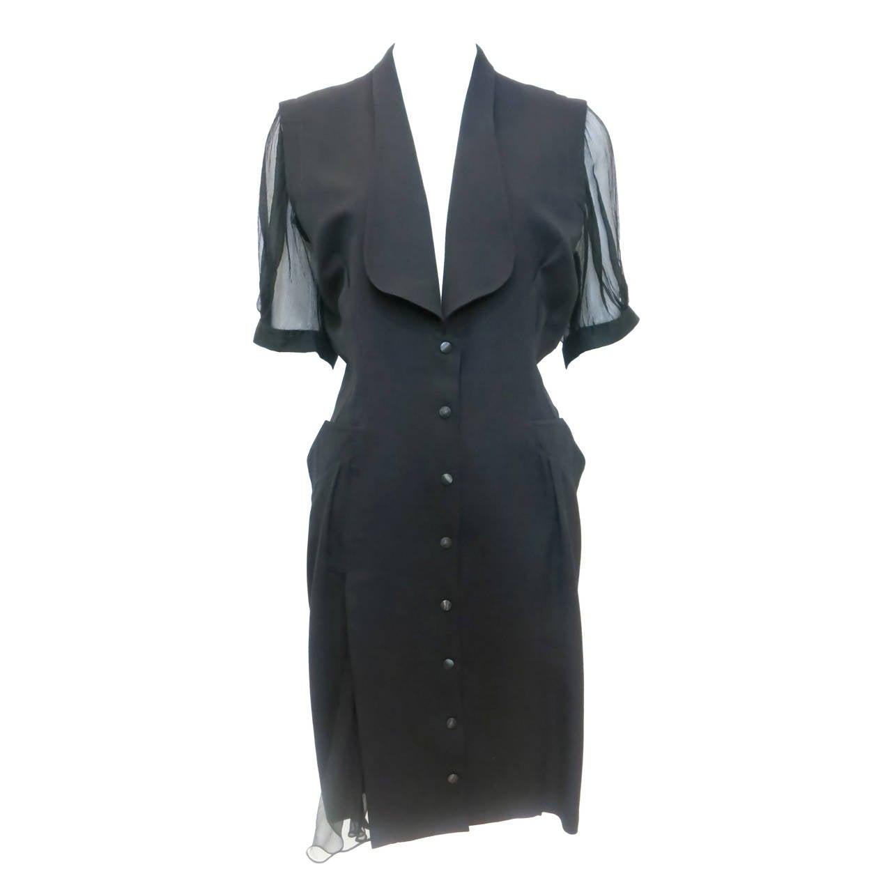 Thierry Mugler Black Shirt Dress, 1980s  For Sale
