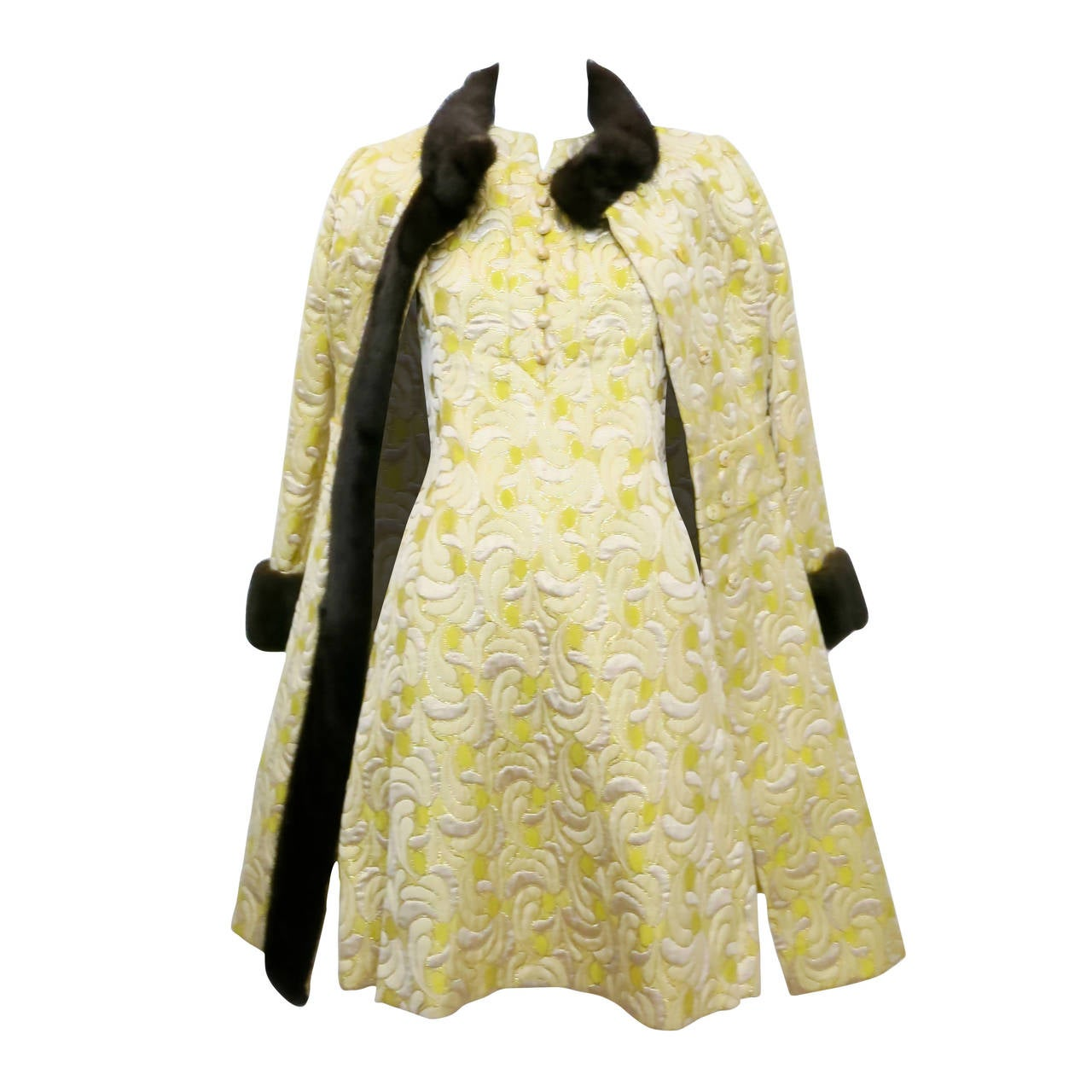 1960s Yellow and Gold Damask Dress and Coat Ensemble with Mink Trim 1
