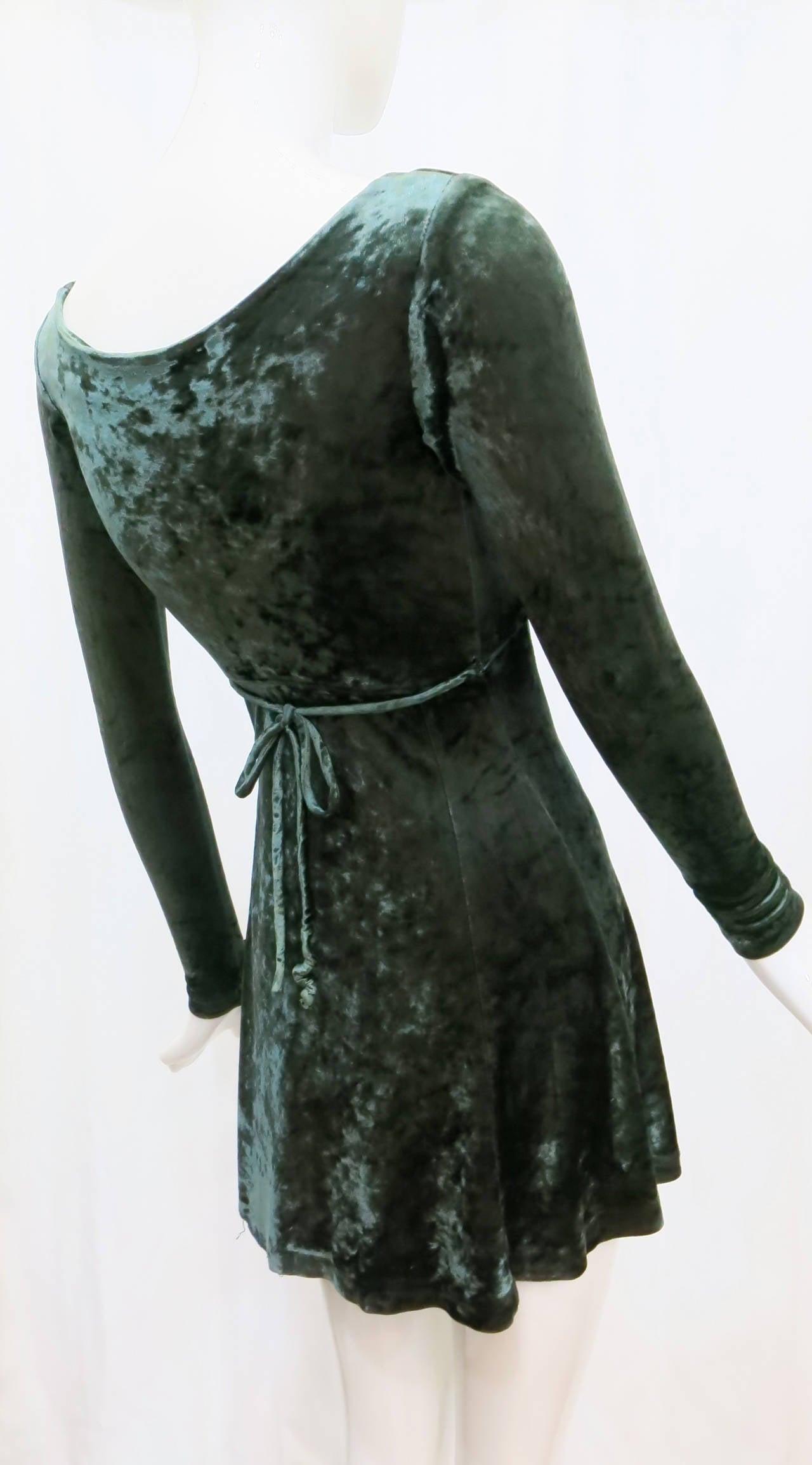 1990s Betsey Johnson Forest Green Crushed Velvet Mini Dress 2