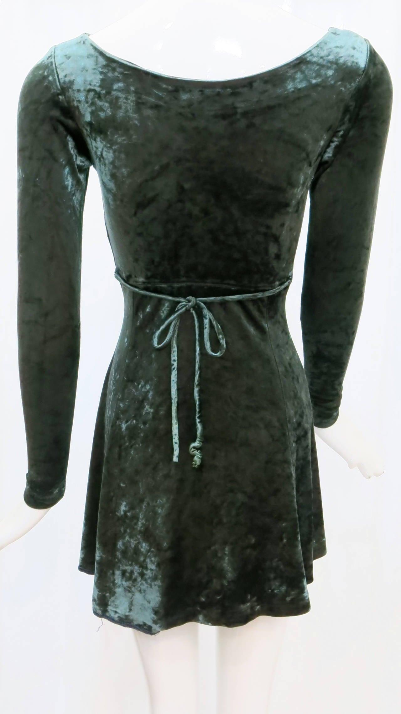 1990s Betsey Johnson Forest Green Crushed Velvet Mini Dress 3